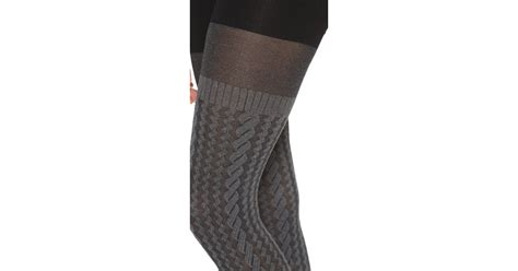 cable knit sweater tights spanx cable knit tights sweater grey in gray lyst