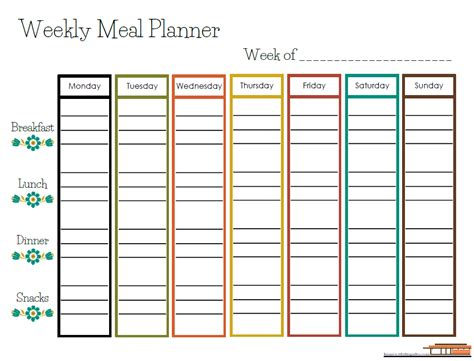 free printable weekly meal planner home with the gades