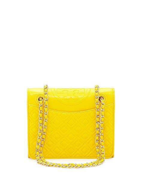 Tas Wanita Burch Quilted Shoulder Bag burch fleming quilted medium flap shoulder bag in yellow lyst