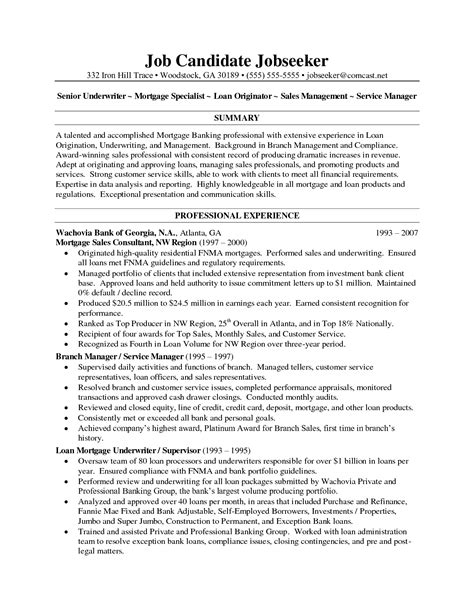Sle Resume Credit Underwriter Underwriting Resume Exles 35 Images Exle Cover Letter