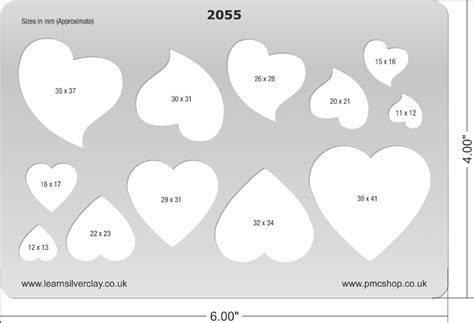 metal clay template classic hearts 2055