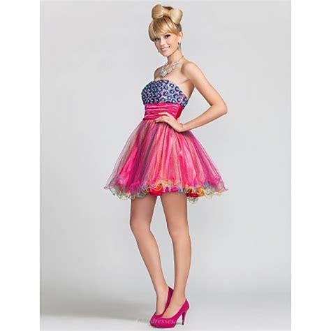 Mini Tulle Dress a line princess strapless mini satin and tulle