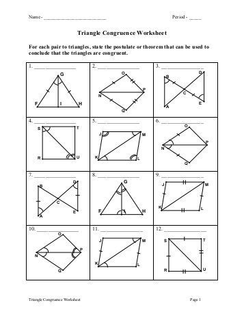 congruent triangles worksheet with answer triangle congruence worksheet worksheets reviewrevitol free printable worksheets and activities