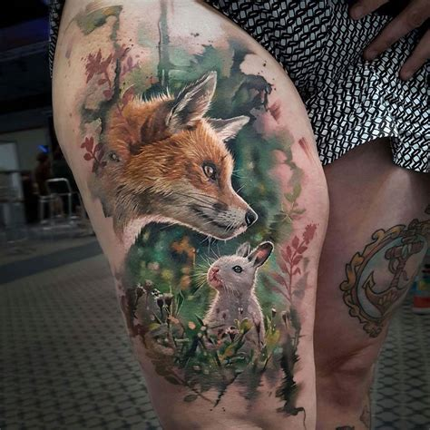 fox amp rabbit realistic thigh piece best tattoo design ideas