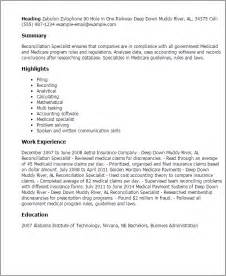 Reconciliation Specialist Cover Letter by Bank Reconciliation Clerk Resume Ebook Database