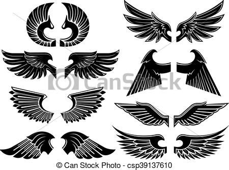 angel wings black heraldic symbols heraldic angel wings