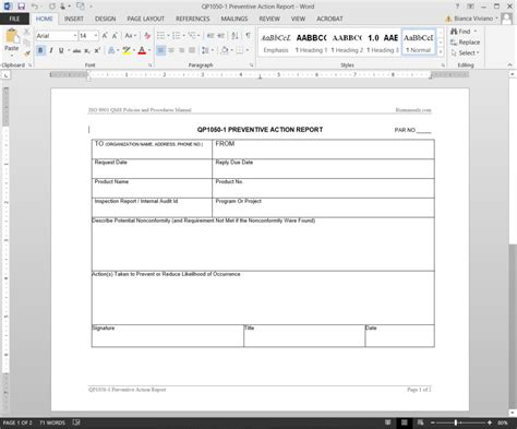 preventive action report iso template