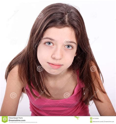 very young pre art beautiful young teen girl with brackets royalty free stock