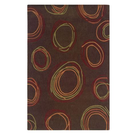 area rugs ta linon home decor trio collection chocolate and rust 5 ft x 7 ft indoor area rug rug ta08257