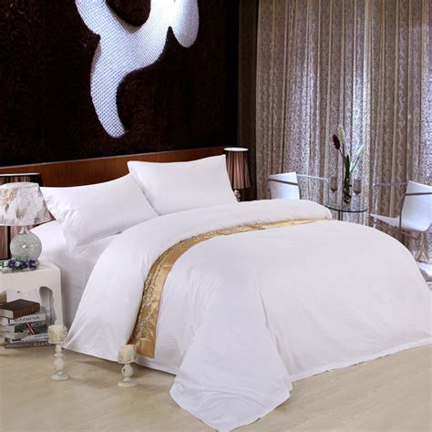 queen size white comforter set pure color hotel home textile 100 cotton white bedding set