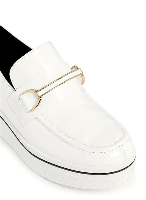 white platform loafers lyst stella mccartney binx platform loafers in white