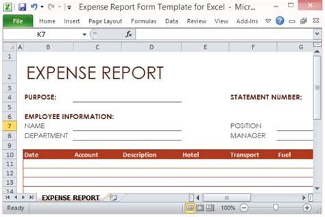 expense report form template for excel powerpoint
