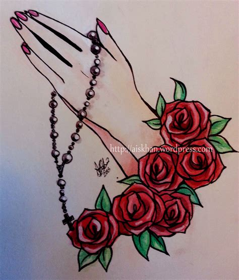 praying hands and roses tattoo design ayesha khan