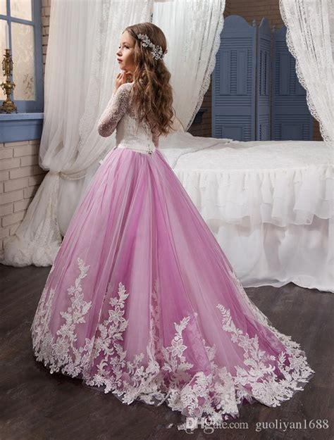princess long sleeves lace flower girl dresses