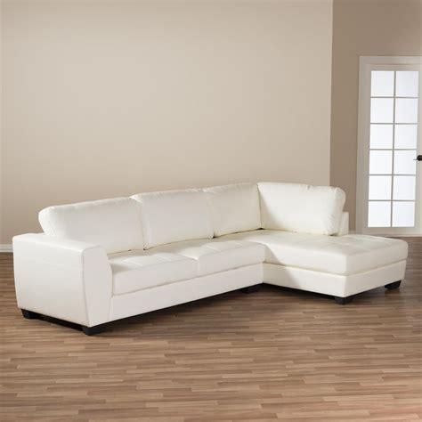 white faux leather sectional baxton studio orland 2 contemporary white faux