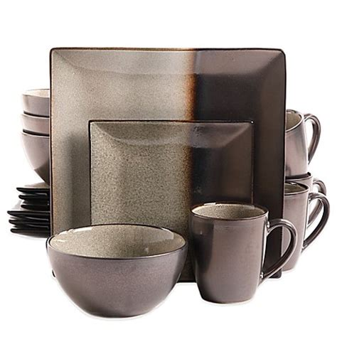 gibson kaidence 16 dinnerware set in brown bed