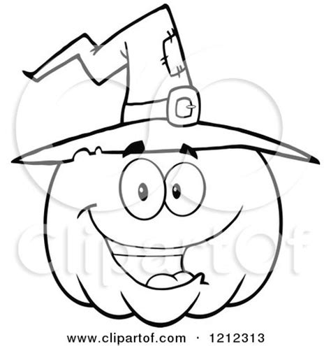 cartoon of an outlined happy smiling halloween pumpkin