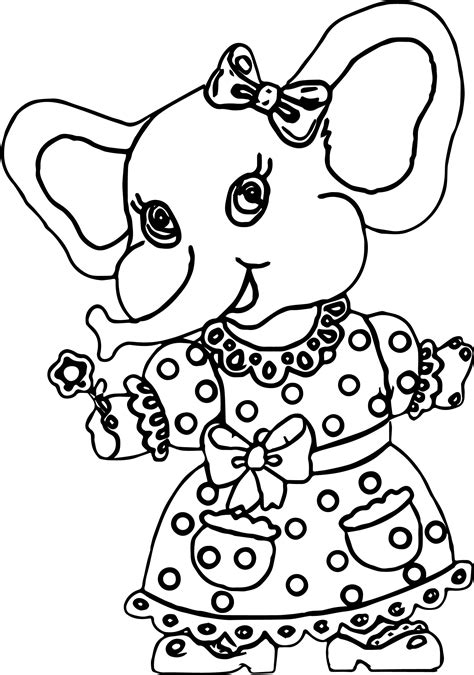 girl elephant coloring pages elephant girl dress coloring page wecoloringpage