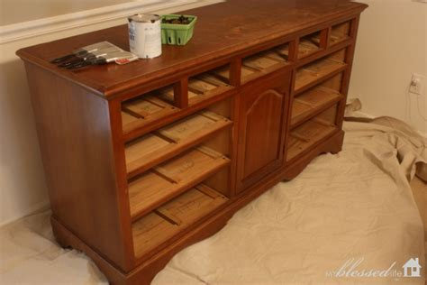 thrifted dresser turned buffet makeover