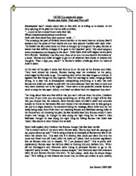 Romeo And Juliet Essay Fate by Romeo And Juliet Fate And Free Will Gcse Marked By Teachers