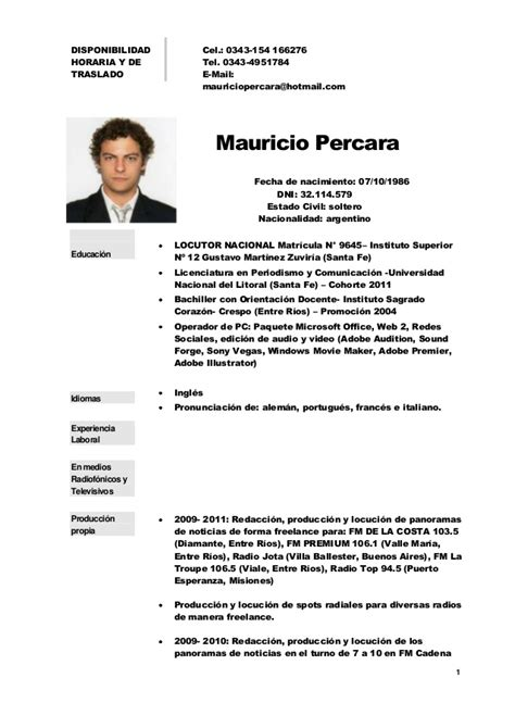 Modelo Curriculum Vitae Uruguay Cv De Mauricio Percara