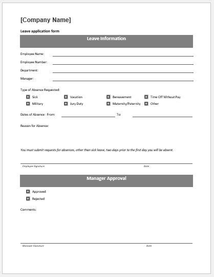 leave application form template ms word word excel