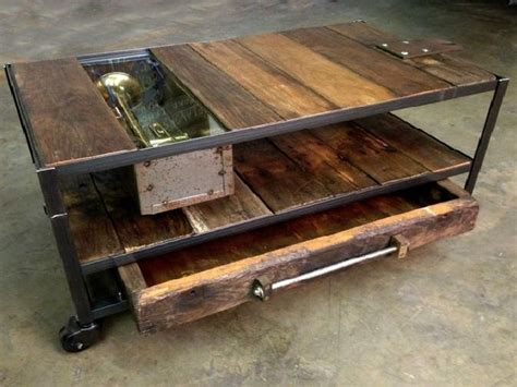 custom made industrial coffee table with rustic wood and