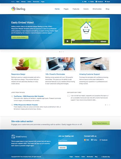 themeforest free html templates sterling html5 responsive web template by truethemes
