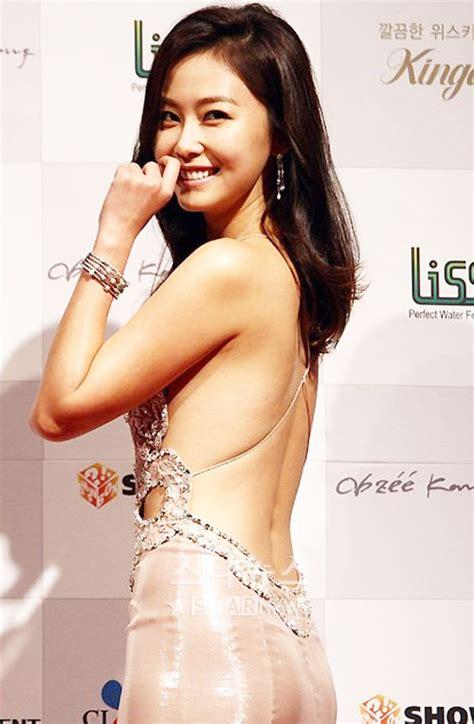 Korean Design by Beautiful Korean Actresses Wearing Back Dresses