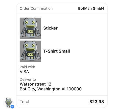 receipt template messenger botman messenger
