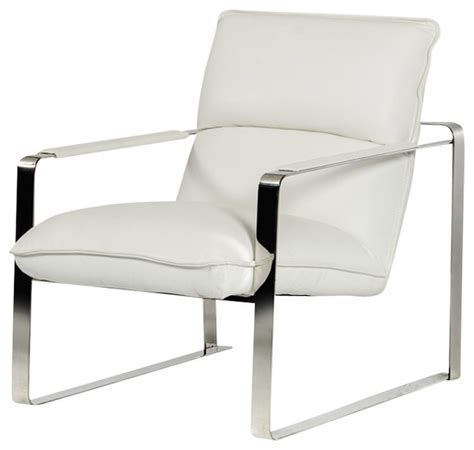 White Leather Chaise Lounge Chair Dunn Modern White Leather Lounge Chair Modern Indoor Chaise Lounge Chairs By La Furniture