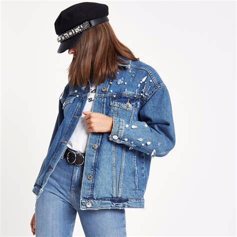 Blue Oversized Denim Jacket 1 blue embellished oversized denim jacket coats jackets