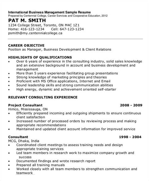 International Business Resume Sample by Simple Business Resume Templates 19 Free Word Pdf