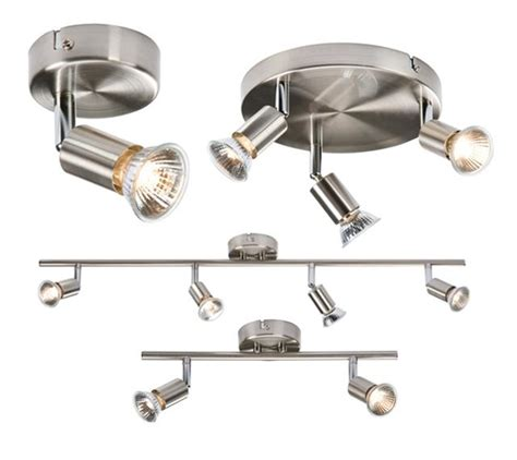 1 2 3 4 way brushed chrome ceiling spotlight bar light