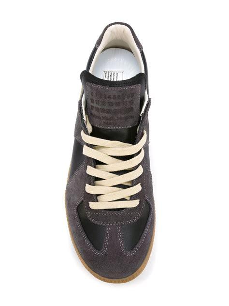 maison margiela sneakers maison margiela geometric paneled sneakers in black lyst
