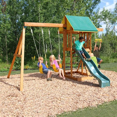 backyard wooden swing set big backyard meadowvale ii wooden play set lowe s canada