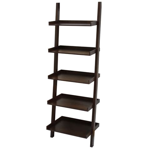 lowes shelving units shop allen roth 74 75 in h x 25 75 in w x 17 5 in d 5 tier wood freestanding ladder shelving