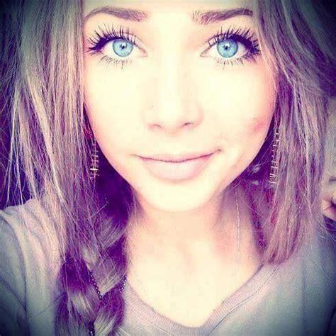 beautiful blue eyes brunette girl selfie girly girl selfie hair makeup fashion beauty