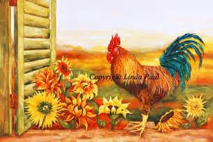 French Provincial Decor Ebay sunflower and rooster decor kitchen art prints on canvas