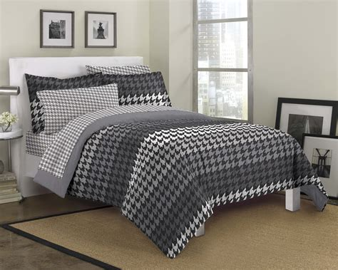 modern bedding new houndstooth gray ultra soft microfiber comforter sham