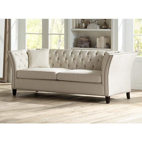 beige tufted sofa brianna tufted beige linen 88 1 2 quot wide upholstered sofa