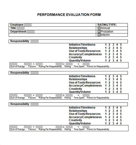 simple performance review template sle performance evaluation form 7 documents in pdf word
