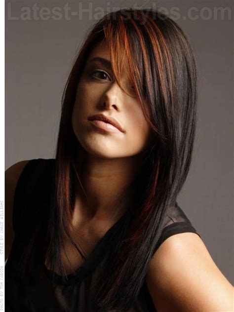 images of long straight hair cut with bangs and patial shag layered haircuts for long straight hair with side bangs