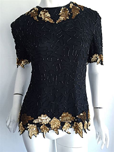 gold beaded top beautiful vintage black gold silk beaded scalloped