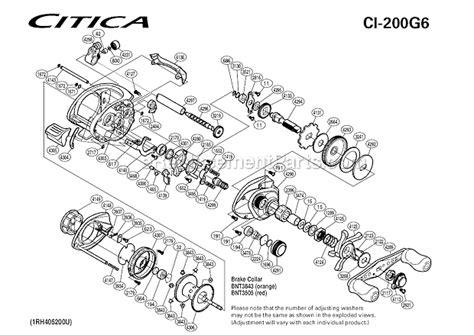 shimano calcutta 200 parts diagram shimano ci 200g6 parts list and diagram