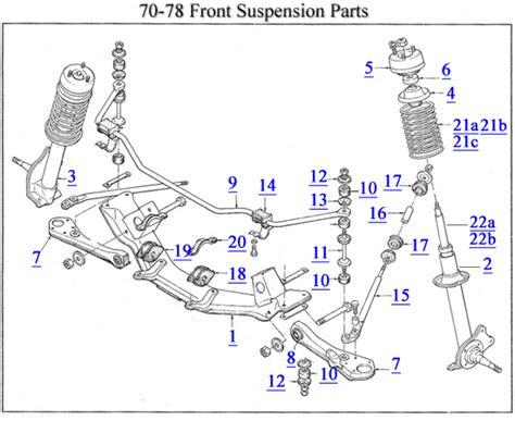 front end parts diagram 70 78 front suspension parts diagram z car source