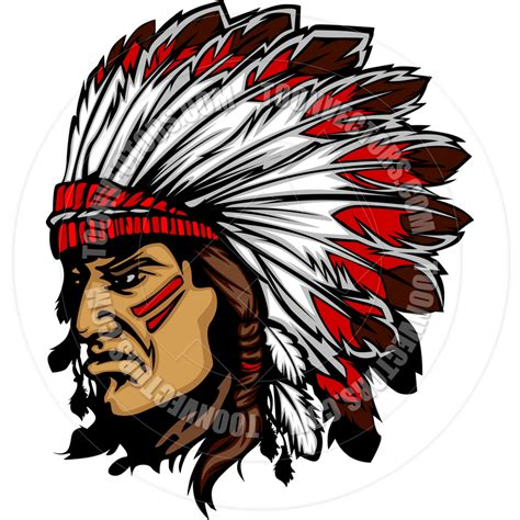 indian chief mascot head cartoon vector graphic stock