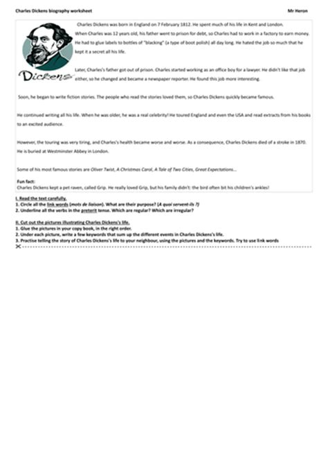 charles dickens biography video worksheet charles dickens biography worksheet by justtheash