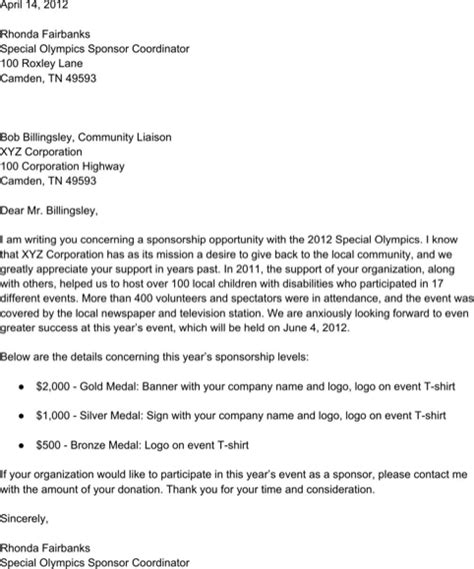 download sle sponsorship letter for free formtemplate