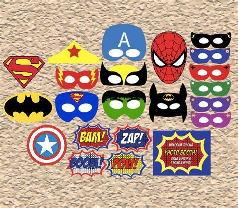 printable photo booth props superhero printable superhero masks and props digital superhero